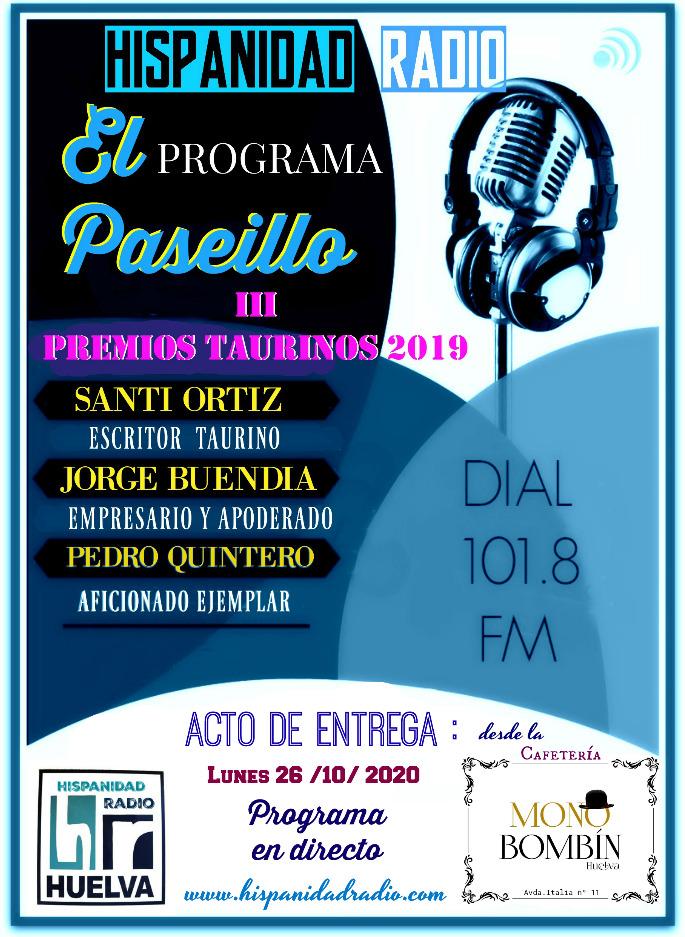 El Paseillo 26-10-2020 Entrega premios 2019